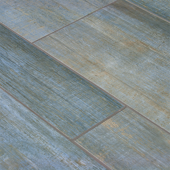 Blue Wood Plank Porcelain Contemporary Wall And Floor Tile