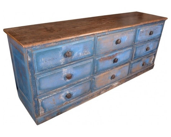Eco Friendly Furnture and Lighting - USA late 19th Century Apothecary Store Counter with 9 drawers, with original metal drawer rollers.