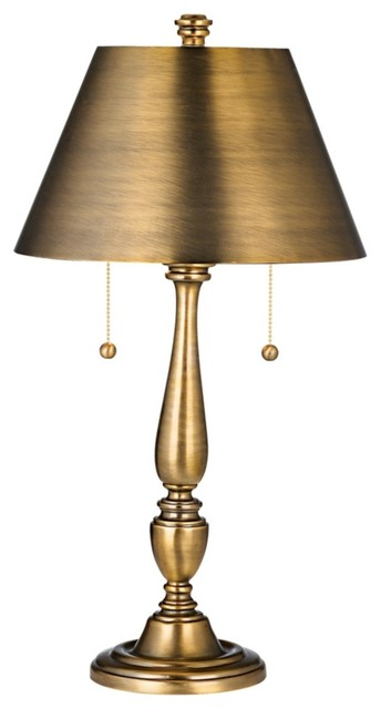 Traditional Brass Finish Library Metal Shade Table Lamp traditional-table-lamps