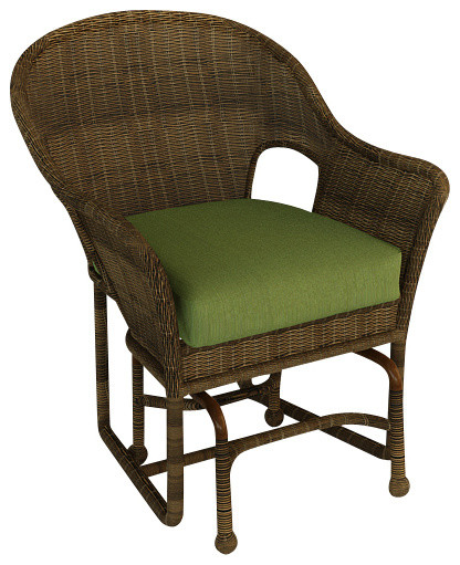 Rockport Traditional Patio Single Glider Chair, Canvas Parrot Cushions traditional-outdoor-lounge-chairs