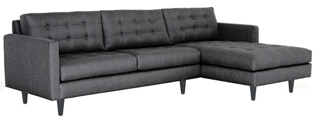 Beverly 2PC Sectional Sofa, Charcoal, 112x65x34, Chaise on Right modern-sectional-sofas