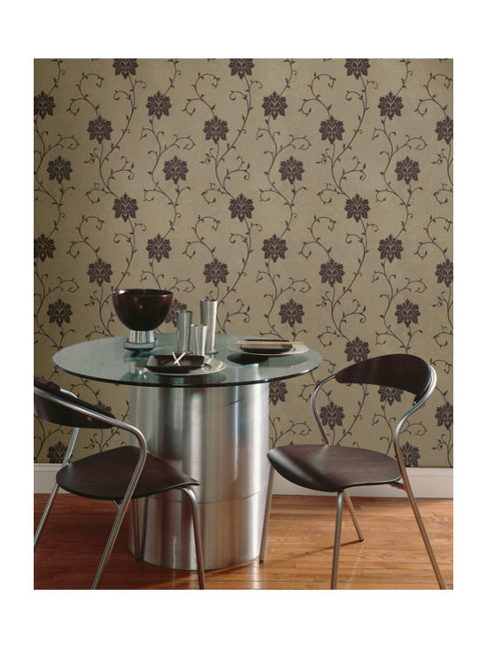Floral Wallpaper - A rich metallic and suede wallpaper design in a beautiful brown palette from the Zinc collection, available from Brewster Home Fashions