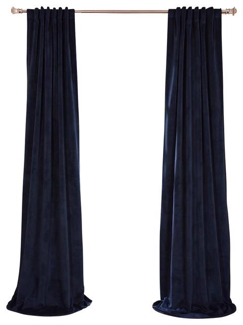 Signature Midnight Blue Blackout Velvet Curtain traditional-curtains