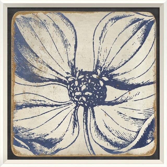 Vintage flower blue ii framed artwork contemporary for Vintage wall art