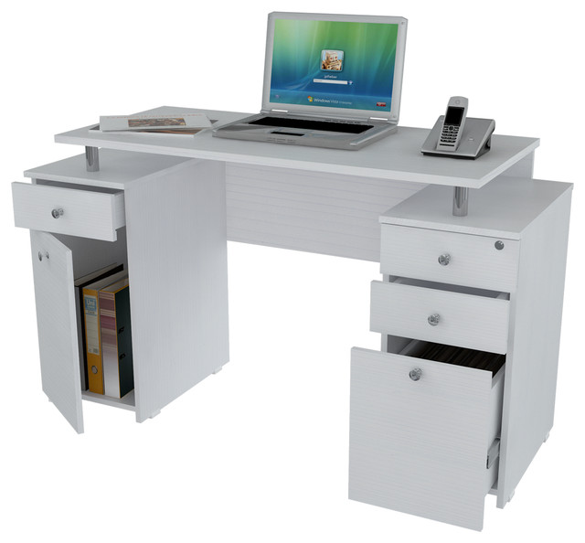 -White Computer Desk with File Drawer contemporary-desks-and-hutches