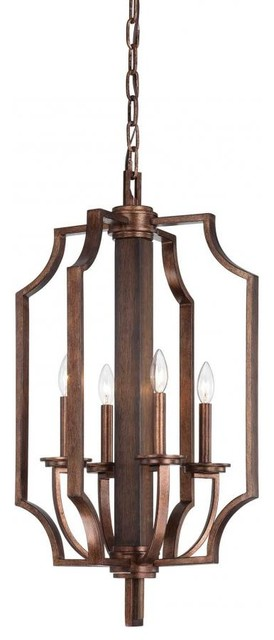 Wood Foyer Lighting : Four light dark wood and guilded bronze open frame foyer