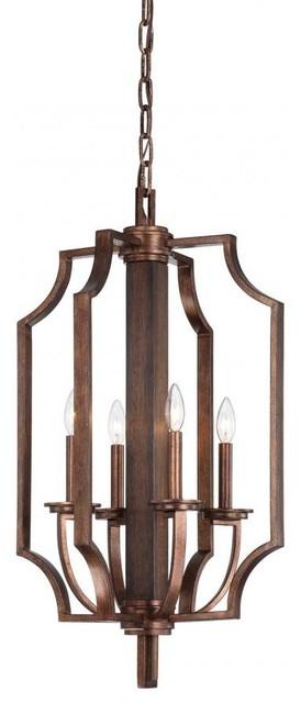 Open Foyer Lighting : Four light dark wood and guilded bronze open frame foyer