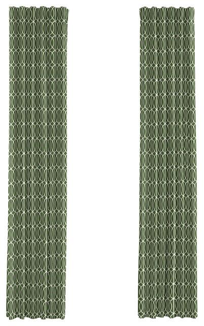 Green Modern Trellis Custom Drapery Single Panel modern-curtains