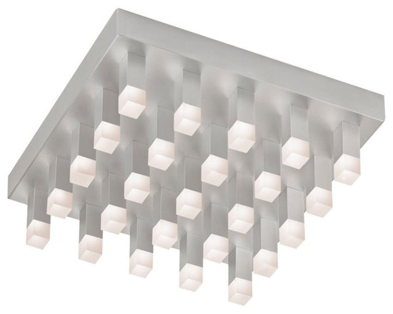 "Sonneman - Sonneman Connetix 15"" Wide LED Ceiling Light - Bring modern lighting style home with the Connetix collection from Sonneman. This flushmount LED ceiling light fixture is eye-catching and contemporary with a rectangular canopy in a bright satin aluminum finish that features twenty five lighted rods extending downward. Bright CREE LEDs are housed within white etched acrylic at the ends of the rods and offer warm white lighting. Connetix ceiling light fixture. Bright satin aluminum finish. White etched acrylic. Includes 25 CREE LED array (34 total watts). 3000K color temperature; CRI 80. Light output 3400 lumens. Dimmable. 15"" wide. 4 1/2"" high.  Connetix ceiling light fixture.  Bright satin aluminum finish.  White etched acrylic.  Includes 25 CREE LED array (34 total watts).  Light output of 3400 lumens.  Comparable to two 100 watt incandescent bulbs.  3000K color temperature; CRI 80.  Dimmable.  15"" wide.  4 1/2"" high."