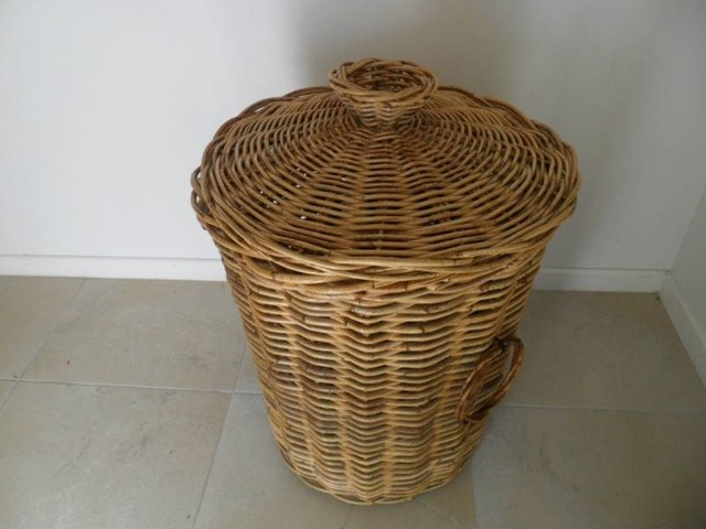 Large cane wicker laundry basket with lid - Rattan laundry basket with lid ...