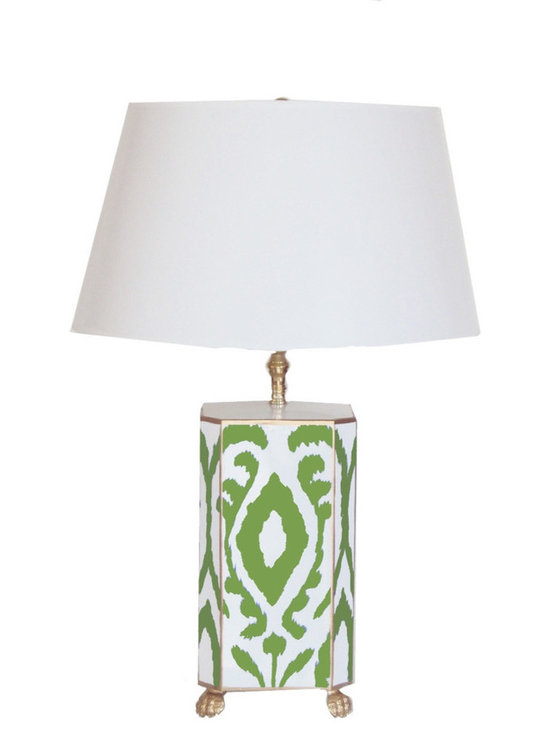 Green Ikat Lamp - Green and white is one of our favorite combinations, especially with a splash of gold thrown in! This lamp would be adorable on a side table in a cozy reading nook.