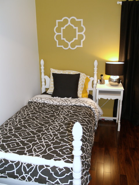 bedroom paint yellow black and white guest room eclectic bedroom