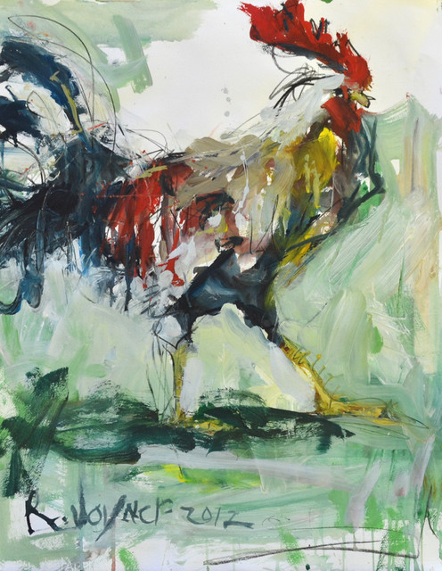 Large Abstract Rooster Painting Modern Artwork Other