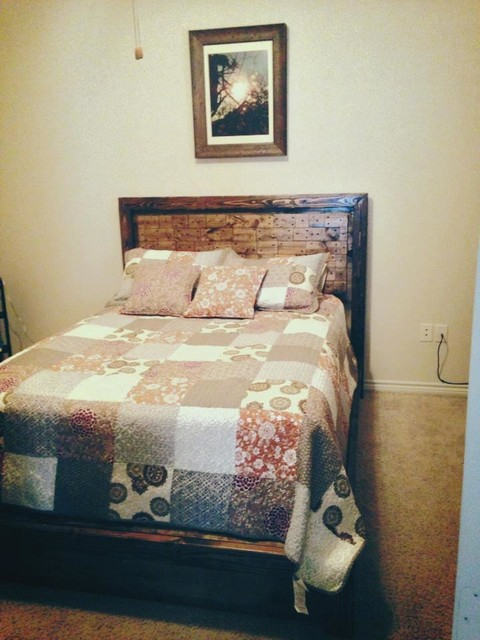 James+James Platform Bed with Pieced Headboard. Full-sized. farmhouse-beds
