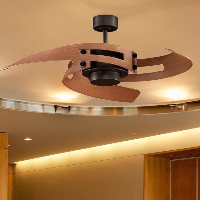 Curved blades ceiling fan 2 finishes ceiling fans by shades of light - Curved blade ceiling fan ...