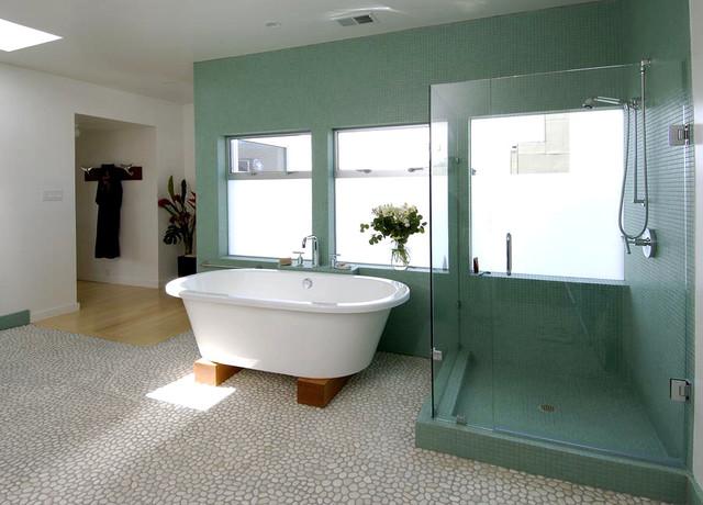 Blue tile bathroom with beach stone floor contemporary