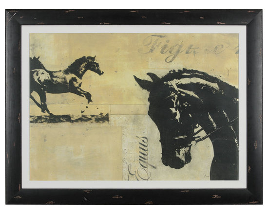Ethan Allen - Equus - Equestrian enchantment. This exclusive gicl?e on paper in graphic charcoals and tea stains is surrounded by an oyster colored fabric liner. The massive frame is a wide wood profile in a weathered and worn black paint finish. By American artist JB Hall.