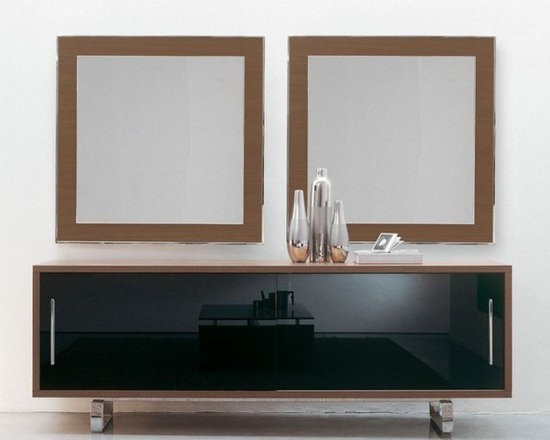 Miai Sideboard - Sideboard with sliding doors in painted tempered extralight glass, wooden or lacquered wood. Option with drawers in wood or lacquered wood. Wooden or lacquered wood frame. Clear tempered glass inside shelves. Chromed steel base.