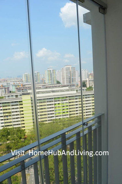 Singapore HDB AMK DBSS Frameless Doors, Balcony (Glass Curtain, smart window)