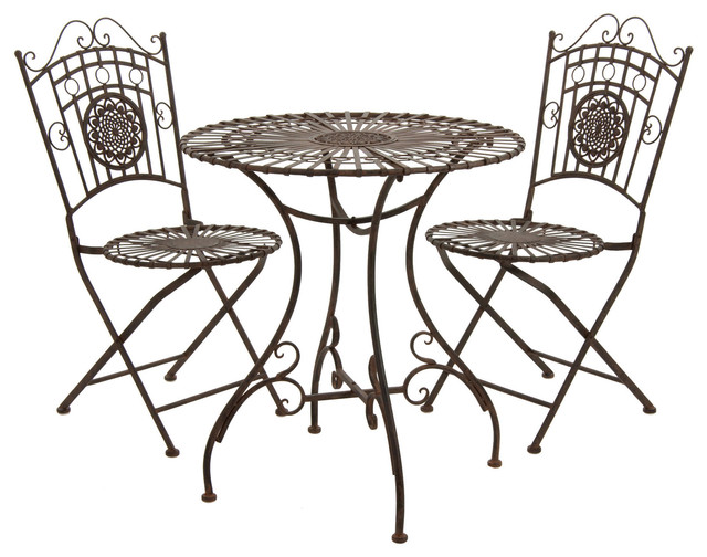 Rustic Metal Garden Table Set Rust Patina Contemporary Furniture By Oriental Furniture