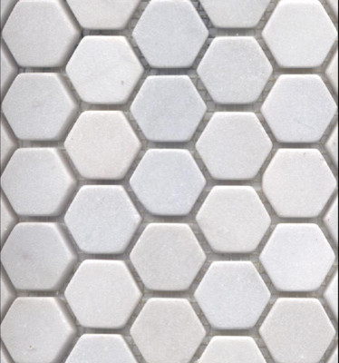 White Snow Marble Hexagon traditional bathroom tile