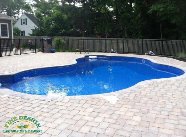 Tumblestone herringbone pattern pool patio new york by for Pool design pattern