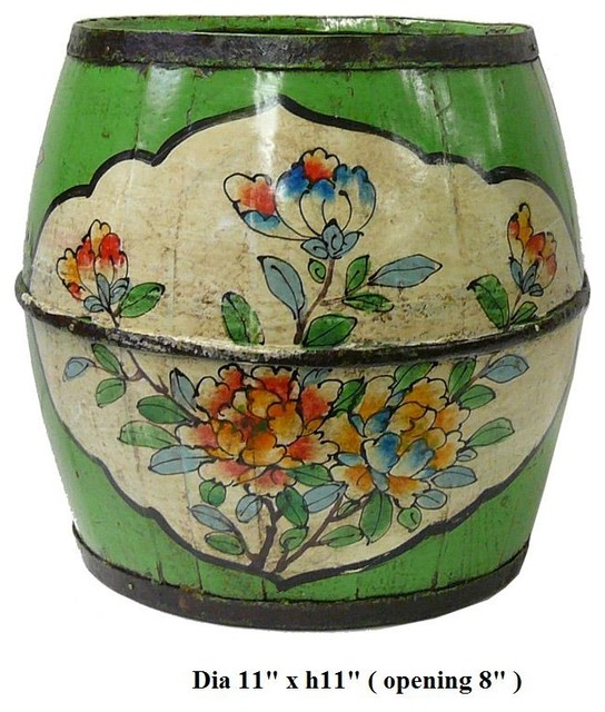Chinese Green Color Floral Round Wood Bucket contemporary-accessories-and-decor