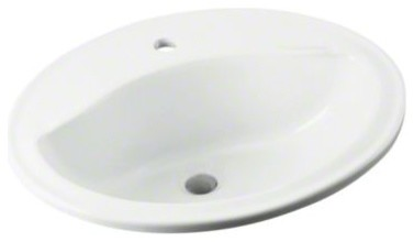 """STERLING Sanibel(TM) Oval 20""""x17""""x8"""" Lavatory with Single faucet-hole drilling contemporary-bathroom-faucets-and-showerheads"""