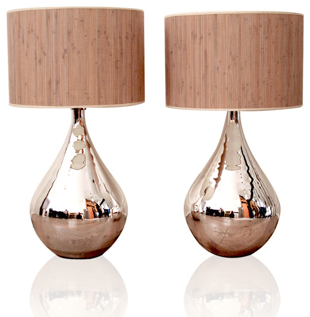 Silver Mercury Lamps with Reed Shade contemporary-table-lamps