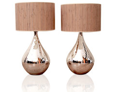 Silver Mercury Lamps with Reed Shade contemporary table lamps