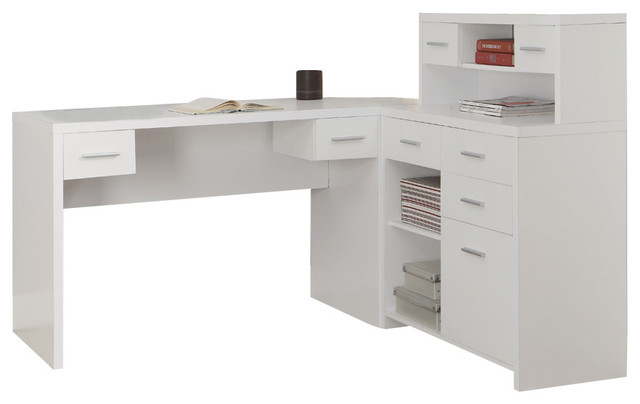 Monarch specialties 7028 hollow core l shaped home office White l shaped desk