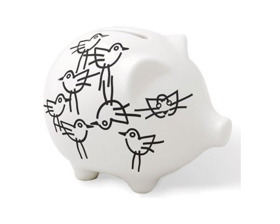 """notNeutral Chick Piggy - The Chick Piggy by notNeutral is a porcelain bank that features one hole on top to keep your change safe. No hole on the bottom to ensure """"saving""""."""