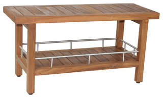 "36"" Teak & Stainless Shower Bench - Beach Style - Outdoor Benches - by ..."