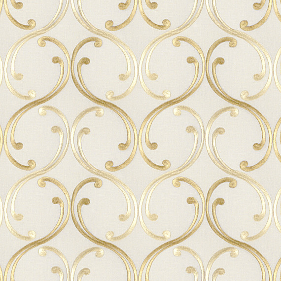 Pale yellow embroidered scroll chain fabric traditional