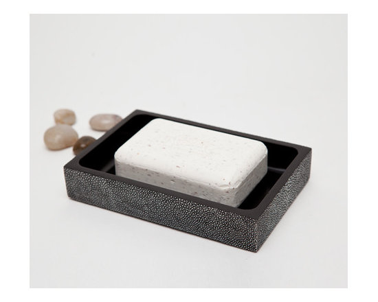 "Manchester Soap Dish-Cool Grey - Up your elegance and add an edge to your aesthetic with our striking faux shagreen Manchester collection. Each piece is crafted to highlight the natural ""eye"" pattern inspired by real shagreen, and topped with a wood veneer trim. Available in five colors, every set is hand-finished to bring out the highs and lows of each hue. Turn the page to see the Manchester in every color!"