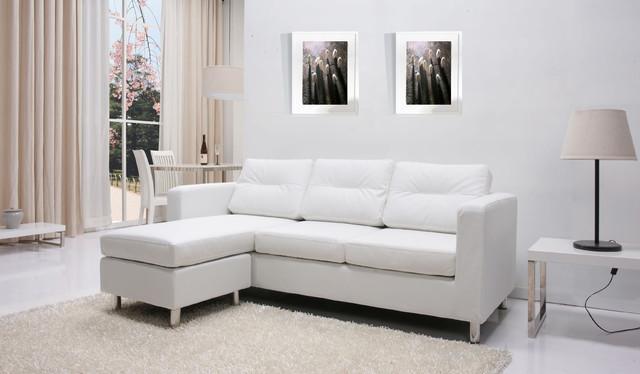 Detroit white convertible sectional sofa and ottoman set for Mancini modern sectional sofa and ottoman set