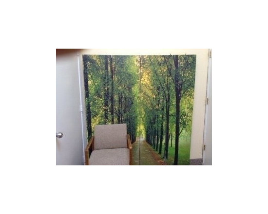 Room Dividers, Folding Screens, Partitions, Decorative Screens, Room Separators - This art print room divider photo print in 4 panels at 6ft tall is stood flat against the wall of a therapist's office.  She says it has a soothing effect on her patients.