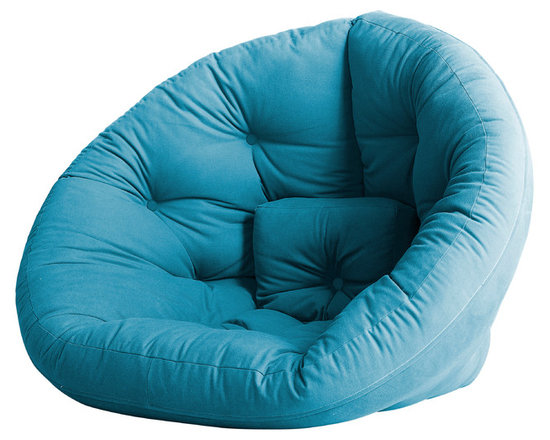 Fresh Futon - Nido Convertible Futon Chair/Bed, Horizon Blue Mattress - After a long hard day you can feel snug retreating to the Nido by lounging in this folded cone-shaped chair or lying on it as semi-circular mattress, you can even combine two for an even wider spread. Winner of theBest ProductInnovation Cup 2009. Available in various frames and multiple fabric color options.