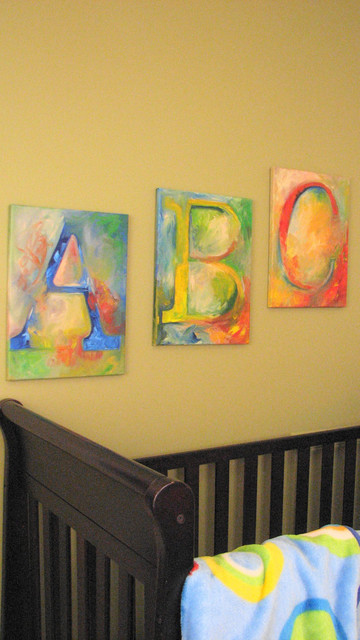 Alphabet Paintings by Over Da Crib modern-nursery-decor