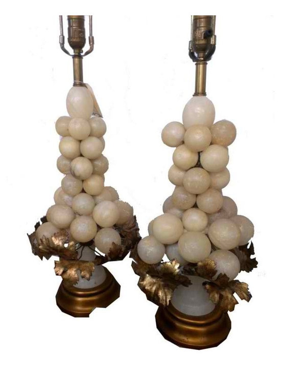 Pair Vintage Alabaster Grape Lamps - The alabaster covers the full lamp and there are approx. 32-35 grapes on each lamp.  The leaves and the base are gold leafed, with a few flakes but it only makes them look better.