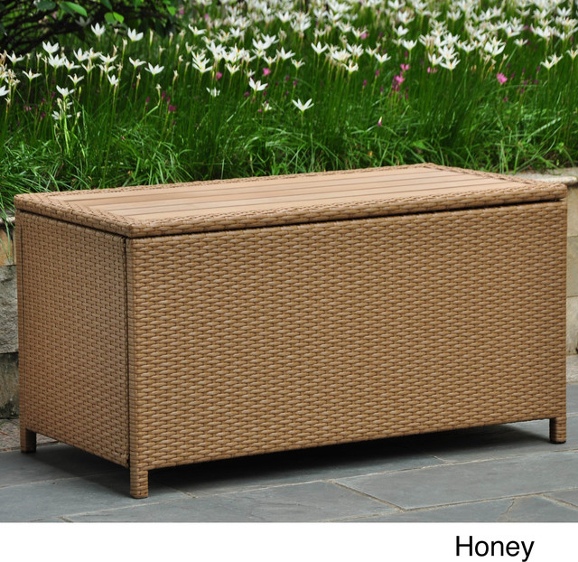 International Caravan International Caravan Wicker Outdoor Storage Trunk Contemporary