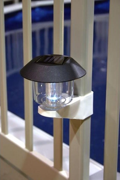 Solar-Powered Fence Light for Above-Ground Pools contemporary swimming pools and spas
