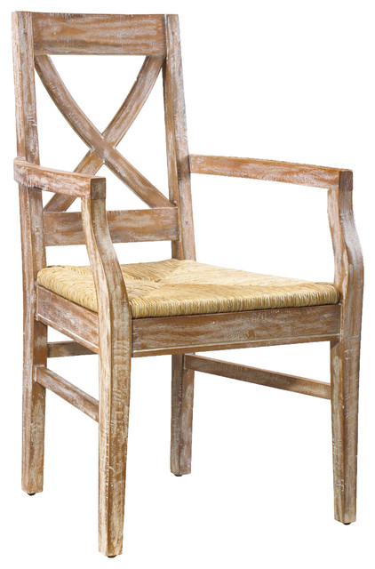 French heritage pyrenees cross back arm chair farmhouse for French farmhouse dining chairs
