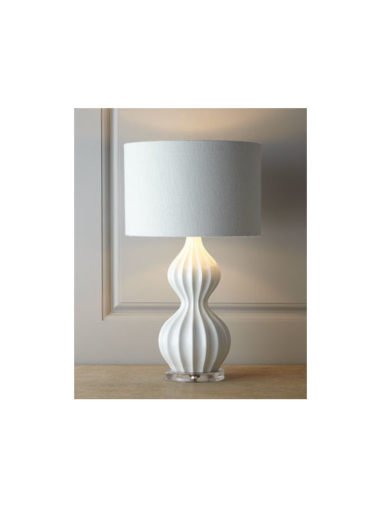 "Horchow - White ""Peanut"" Lamp - Perfectly proportioned to fit in smaller spaces, this lamp features a mid-century ribbed ""peanut"" gourd design with a high-gloss finish. It's ideal as a desk or accent lamp and makes a fun addition to a child's room. Handcrafted of polyresin with an ac..."