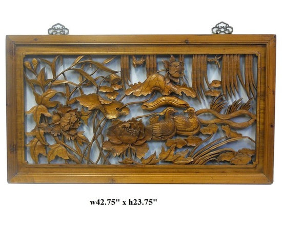Chinese Relief Carved Mandarin Duck Lotus Wood Panel - This is a traditional Chinese decoration panel with see through relief carving of Chinese Mandarin ducks in lotus pond scenery.