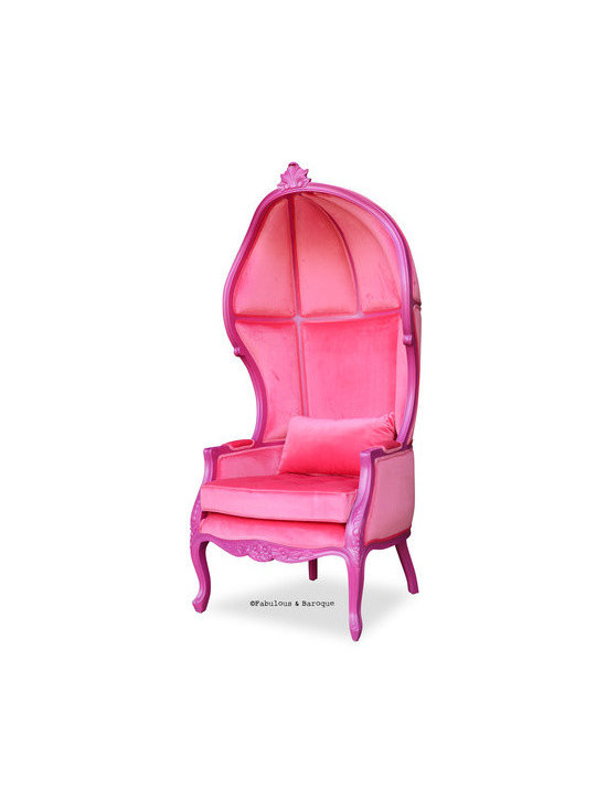 Fabulous & Baroque's Victoire Balloon Chair - Fuchsia - The Victoire balloon chair is a natural addition to the Fabulous & Baroque collection of fine furnishing. The chair is a cozy, comfortable choice for any modern baroque setting. We've covered the inside and of the chair with pink velvet and then dressed it up by finishing the frame in a fuchsia lacquer finish! Handmade and carved out of mahogany, with accent carvings at the crest and base of the chair. The seat is tufted with Swarovski ELEMENTS crystals and the oblong pillow is included.