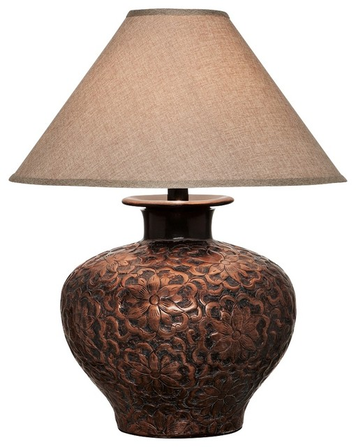 Arbon Floral Copper Table Lamp Traditional Table Lamps