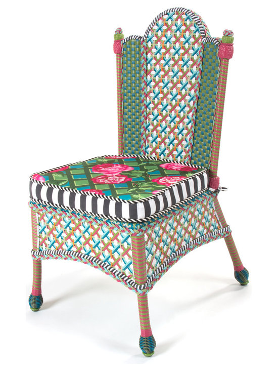 Greenhouse Outdoor Dining Chair | MacKenzie-Childs - The glorious hues of summer inspire the Greenhouse Collection. Intricately woven of resin wicker in shades of green, pink, white, and orange, and embellished with acrylic roses and leaves. Wrought iron frames. Sturdy, easy care, and made to withstand the elements. Contrasting weave back panels and decorative wrapped finials. Rose-on-lattice printed seat cushion reverses to a graphic plaid.