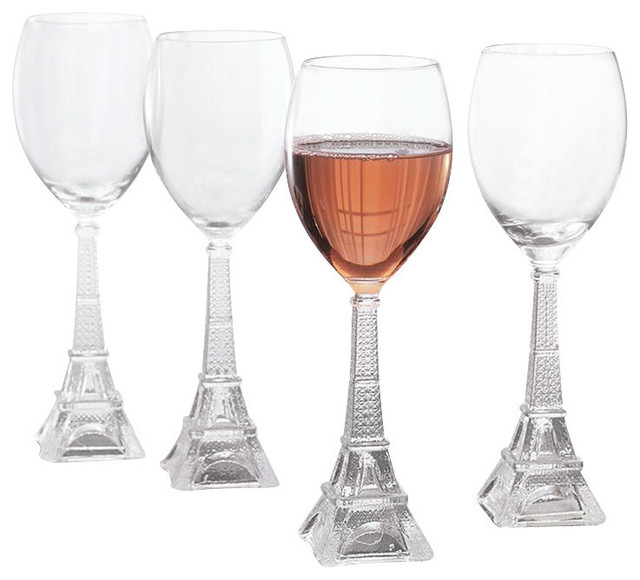 Vintage Eiffel Tower White Wine Glasses, Set of 4 - Contemporary - Wine Glasses - by Classic Hostess