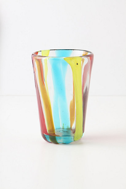 Raised Stripes Juice Glass eclectic-everyday-glasses